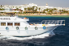 Tourist boat trip around the Sinai on the yacht, Red sea, Sharm Stock Image