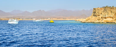 Tourist boat trip around the Sinai on the yacht, Red sea, Sharm Royalty Free Stock Photo
