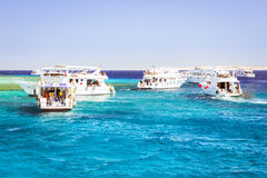 Tourist boat trip around the Sinai on the yacht, Red sea, Sharm Stock Photography