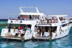 Tourist boat trip around the Sinai on the yacht, Red sea, Sharm Stock Photos