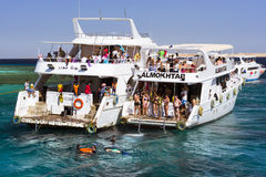 Tourist boat trip around the Sinai on the yacht, Red sea, Sharm Stock Images