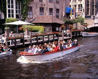 Tourist boat trip, Bruges. Royalty Free Stock Image