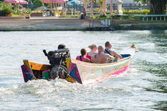 Tourist boat trips to see River Kwai. Royalty Free Stock Images
