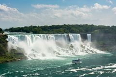 Tourist boat under the American Falls Royalty Free Stock Photography