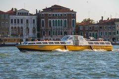 Tourist boat in Venice lagoon, Italy. Venice, Italy - August 13, 2016: Tourist boat in Venice lagoon Stock Photos