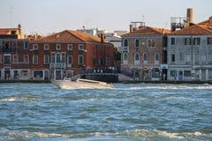 Tourist boat in Venice lagoon, Italy. Venice, Italy - August 13, 2016: Tourist boat in Venice lagoon Royalty Free Stock Photo