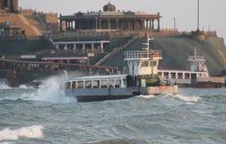 Tourist boat at Vivekanand Monument at Sea Stock Photo