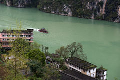 Tourist boat in Wu River Gorge Royalty Free Stock Images
