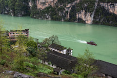 Tourist boat in Wu River Gorge Stock Photo