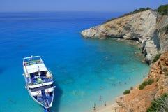 Tourist boat at Porto Katsiki beach,Greece Stock Photos