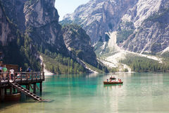 Tourist boating on Lake Braies Stock Photo