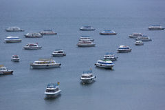 Tourist boats anchored on the Lake Titicaca in Copacabana Stock Photo