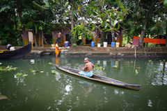 Tourist boats in backwaters of Alappuzha Alleppey. Kerala state, India Stock Photo