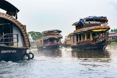 Tourist boats in backwaters of Alappuzha Alleppey. Kerala state, India Royalty Free Stock Images