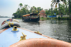 Tourist boats in backwaters of Alappuzha Alleppey. Kerala state, India Stock Image