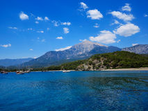 Tourist boats are in the bay against mountain Tahtal? Royalty Free Stock Images