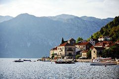 Tourist boats in the Bay of Kotor Royalty Free Stock Photo