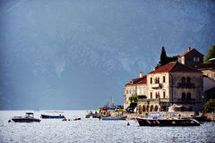 Tourist boats in the Bay of Kotor Royalty Free Stock Photography