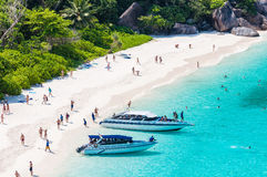 Tourist boats in a bay on Similan islands Stock Photo