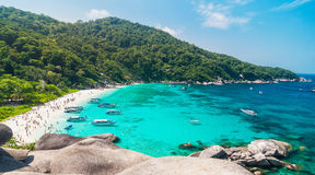 Tourist boats in a bay on Similan islands Royalty Free Stock Images