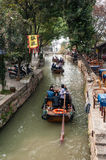 Tourist boats in the brook of Tongli Royalty Free Stock Photo