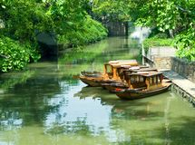Tourist boats at the canal Stock Photography