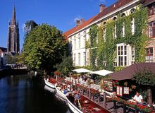 Tourist boats on canal, Bruges. Stock Image