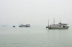 Tourist boats cruise among hundreds of small islands in Halong Bay Stock Image