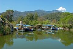 Tourist boats on Dalyan river Stock Photo