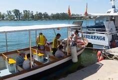 Tourist boats at delta of Ebro river Royalty Free Stock Photo