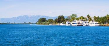 Tourist boats at delta of Ebro river Stock Photos