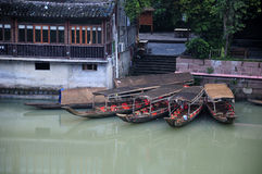 Tourist boats docked in Fenghuang China Royalty Free Stock Image