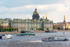 Tourist boats floating on the Neva River in St. Petersburg Stock Photos