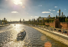 Tourist boats floats past the Moscow Kremlin Royalty Free Stock Photos