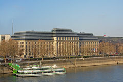Tourist boats in front of the headquarters of the  European Aviation Safety Agency, Cologne Stock Photos