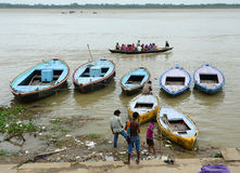 Tourist boats on the Ganges river in Varanasi, India Stock Photo