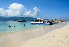 Tourist boats at Gili Meno island Stock Photo