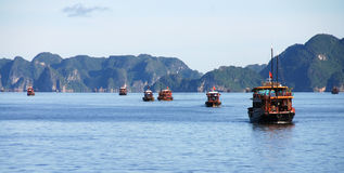 Tourist boats in Halng Bay, Vietnam Stock Photos