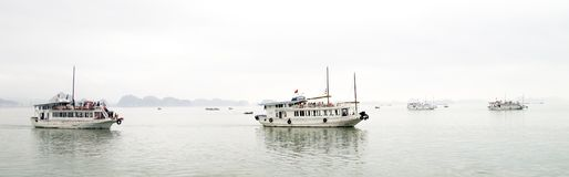 Tourist boats in Halong Bay, Vietnam. Stock Photos