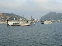Tourist boats in halong bay Vietnam Royalty Free Stock Images