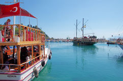 Tourist boats in the harbour of Antalya Stock Photo