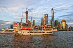 Tourist boats on the Huangpu River Royalty Free Stock Image
