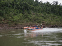 Tourist boats at the Iguazu waterfall in Argentina Stock Image