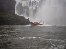 Tourist boats at the Iguazu waterfall in Argentina Royalty Free Stock Photo