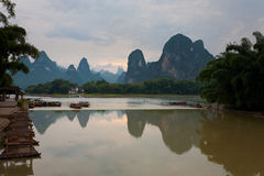 Tourist Boats Karst Reflection Stock Photos