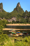 Tourist boats on the Li river Royalty Free Stock Photography