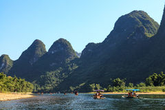 Tourist boats on the Li river Royalty Free Stock Images