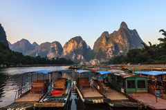 Tourist boats at the Li river , China Royalty Free Stock Photography