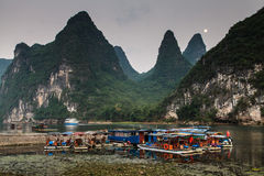 Tourist boats at the Li river Royalty Free Stock Photography