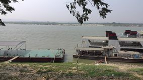 Tourist boats in Mandalay, Myanmar stock footage